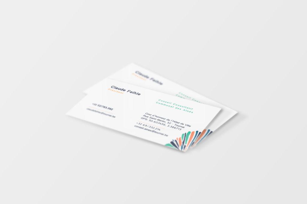 Déclinaison imprimées du logo pour les aînés de Tournai: cartes de visite.