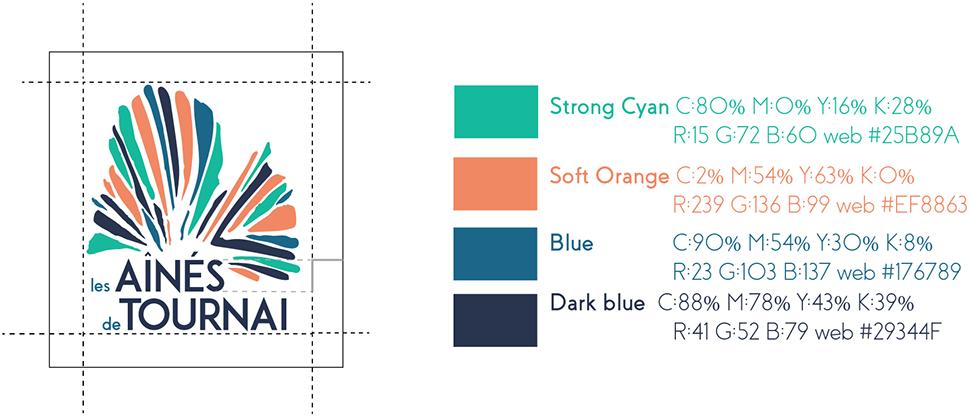 Les aines de Tournai - le grille des couleurs avec les codes CMJK et RGB.