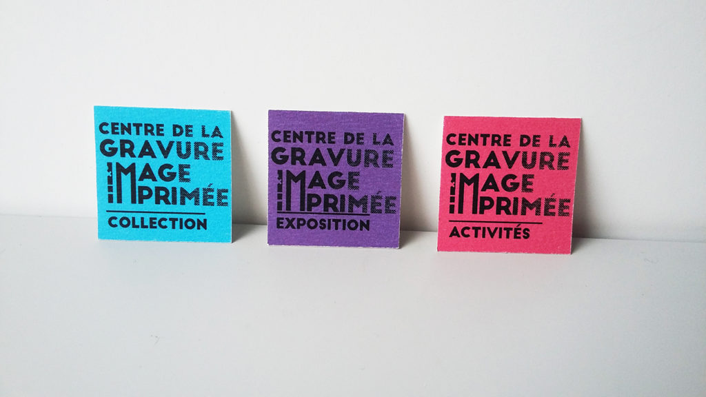Different activities of the museum presented in different color variantes of the logo.