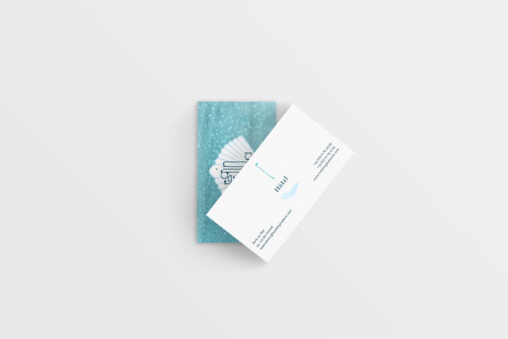Apres la création logo, les cartes de visites représentent une déclination logique et utile.