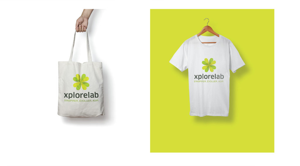 branding xplore lab: tote bag and t-shirt