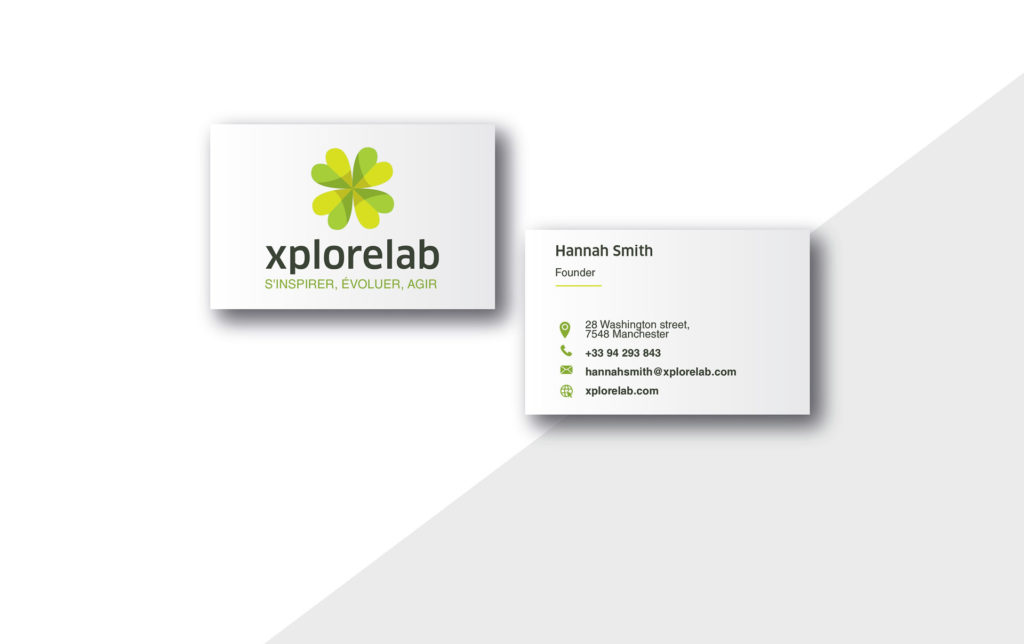 logo design and branding xplorelab: business cards.
