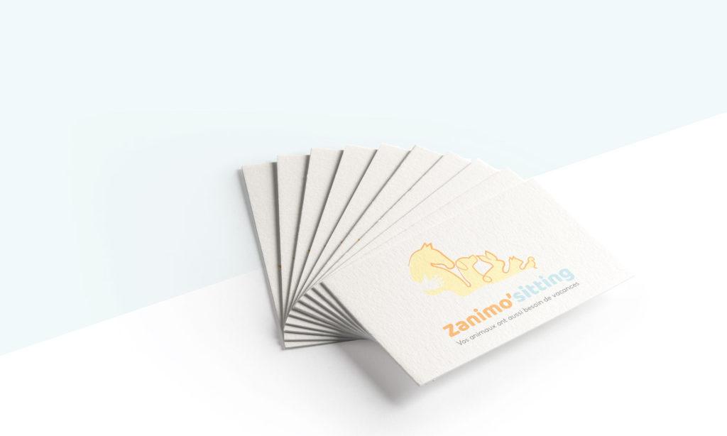 cartes de visite avec le logo zanimo'sitting