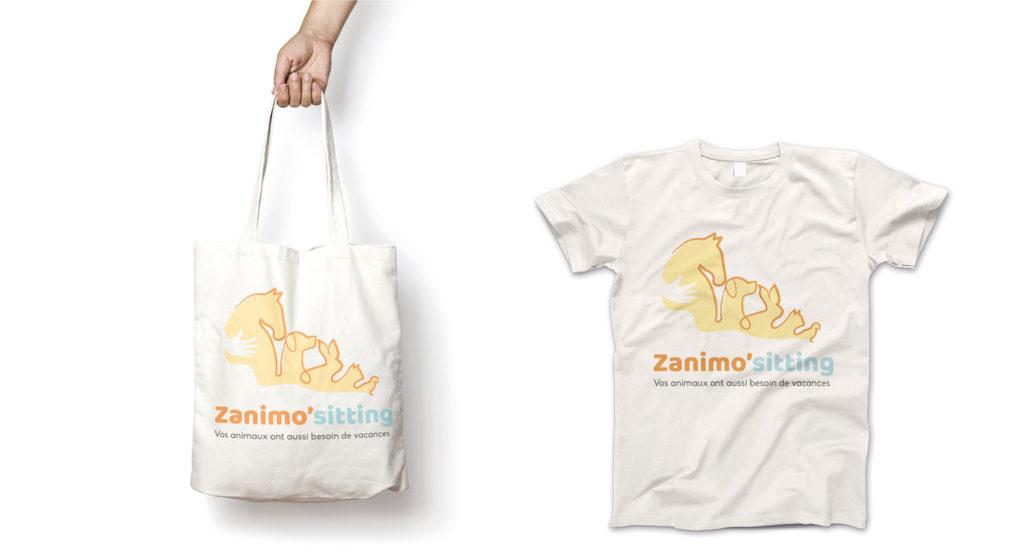 Déclinaisons logo: T-shit et sac en tissu zanimo'sitting
