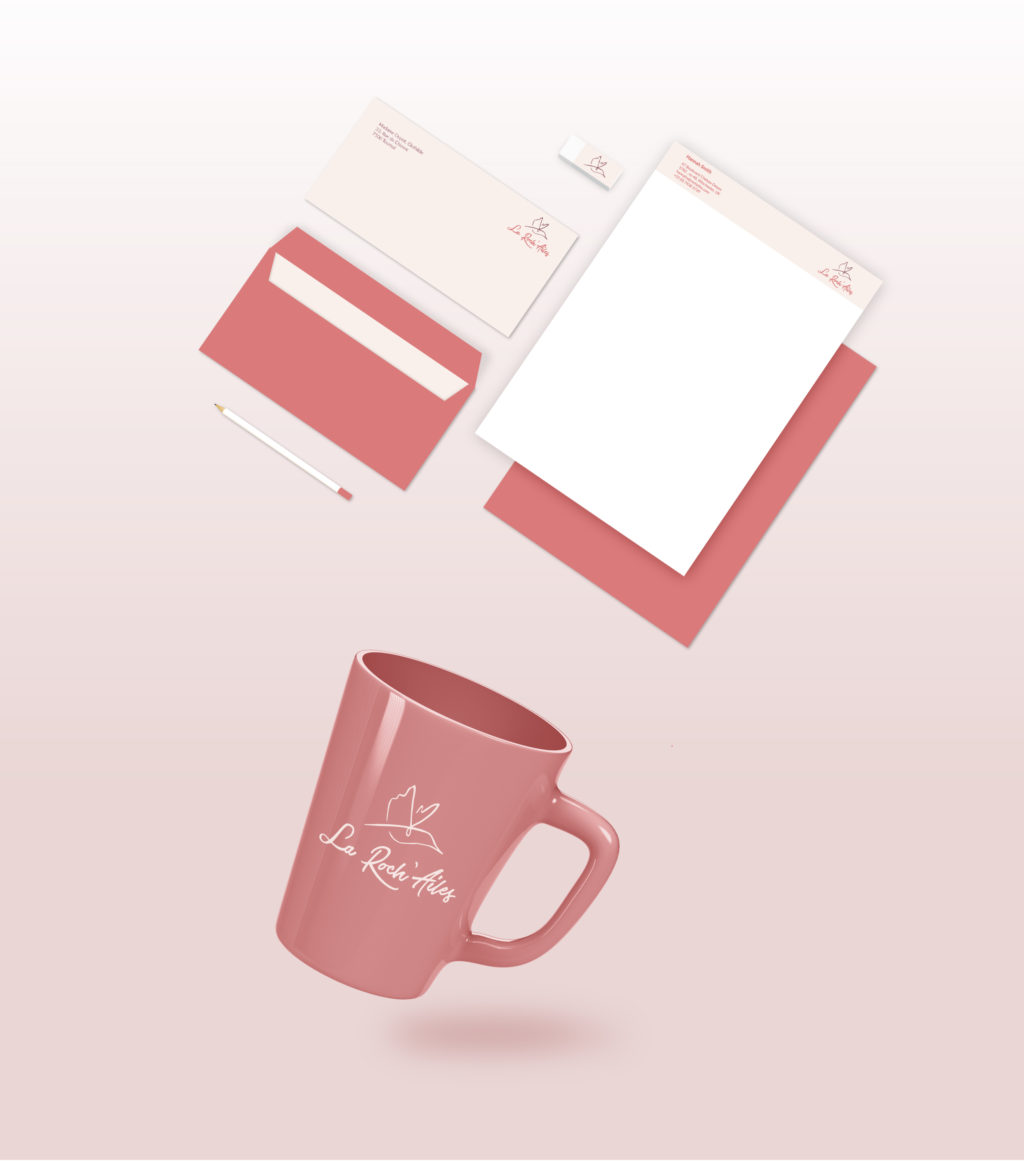 Branding la roch'ailes. Stationary and mug with logo