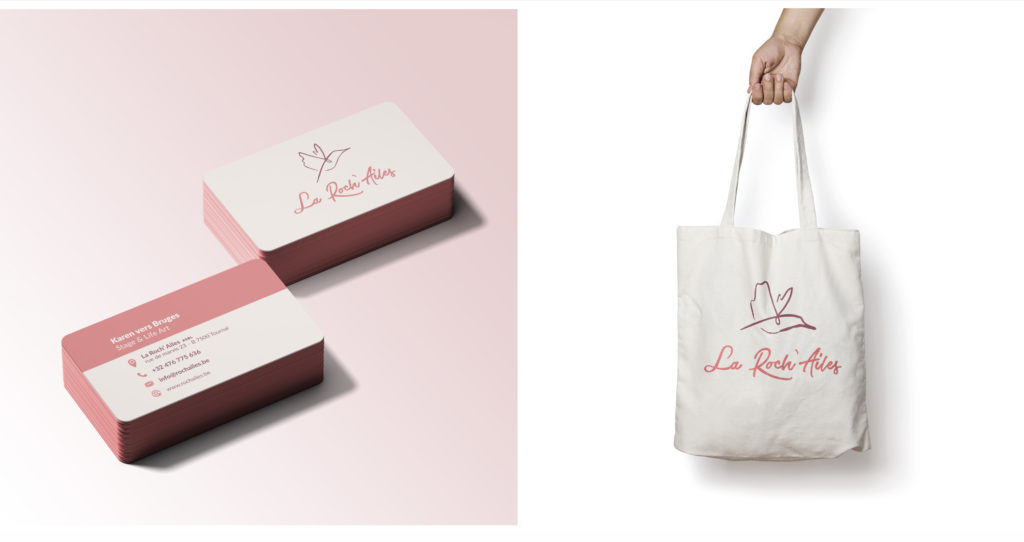 Branding la roch'ailes. Business cards and tote bag design