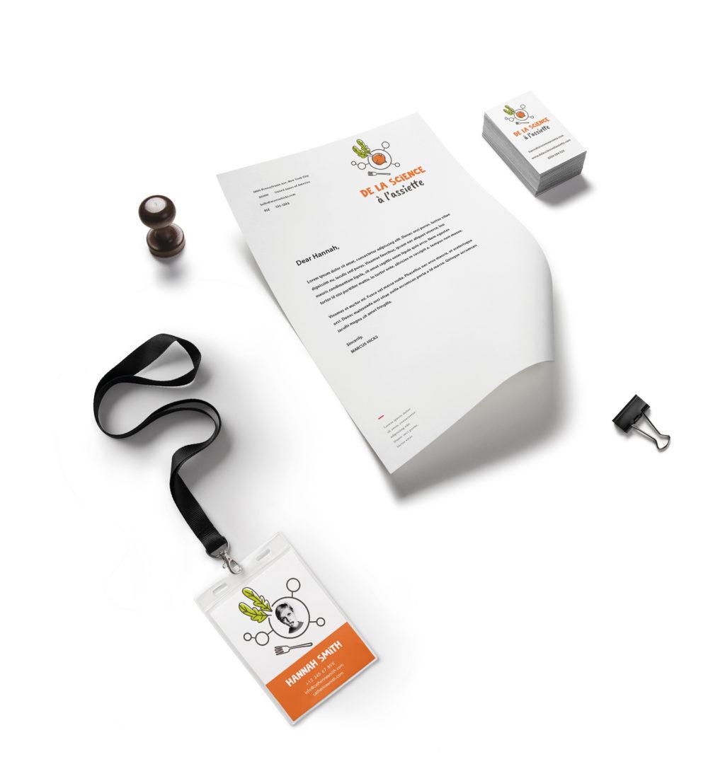 Déclinaisons sur papier logo de la Science à l'Assiette