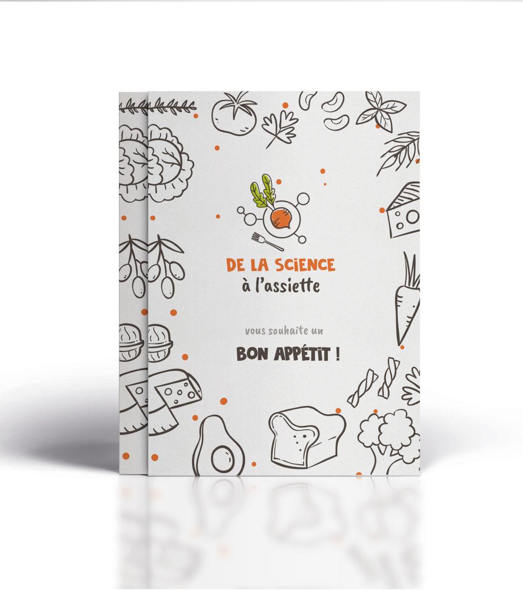 """Couverture livre de recette ou carte de vœux  """"de la Science à l'Assiette"""""""