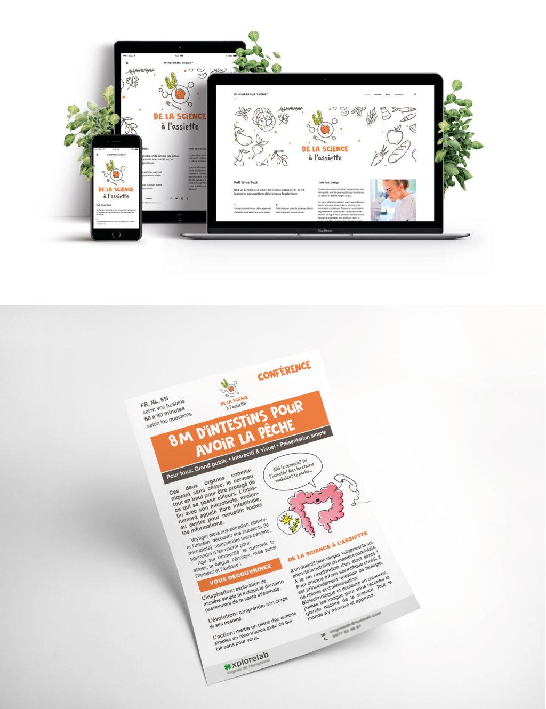 Création site web responsive et ergonomique  pour de la Science à l'Assiette. Flyer pour conférences.