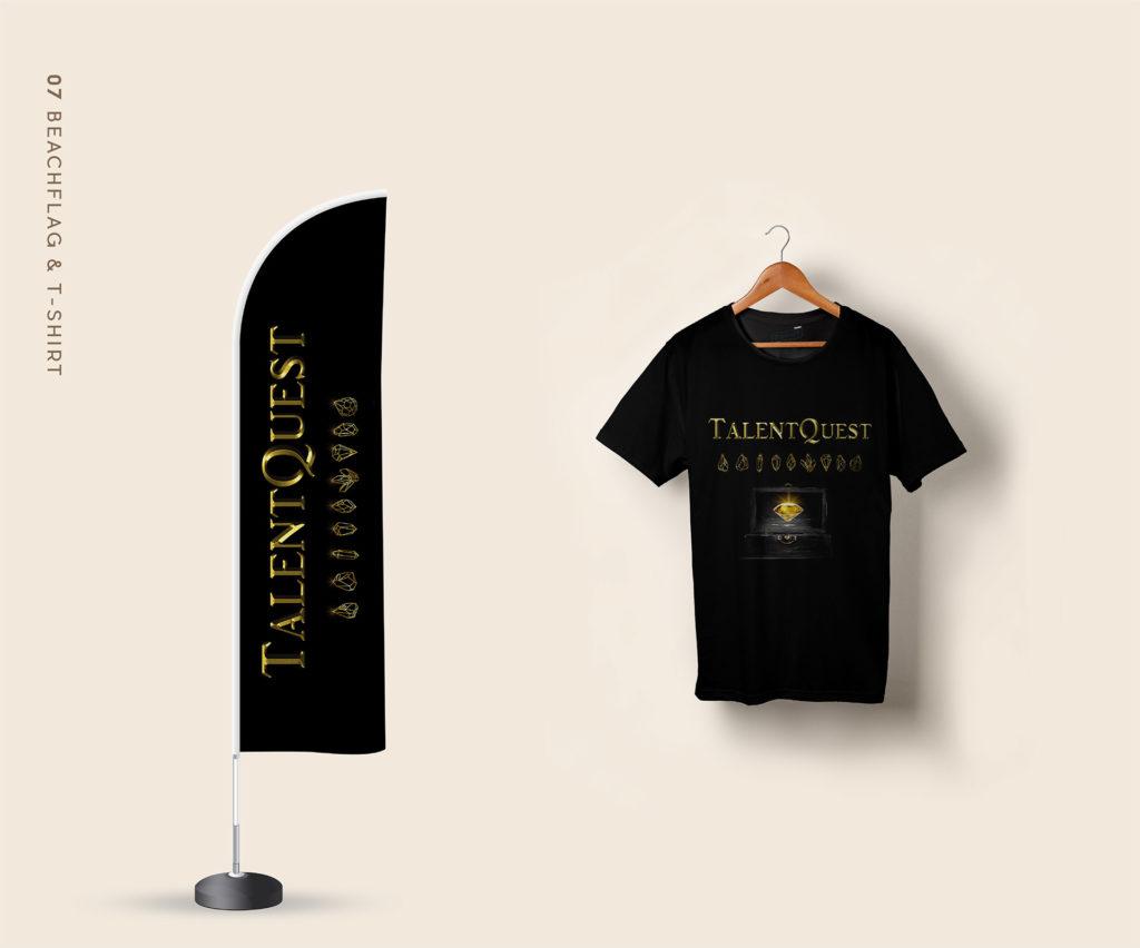Déclinaisons logo TalentQuest sur T-shirt et Beachflag