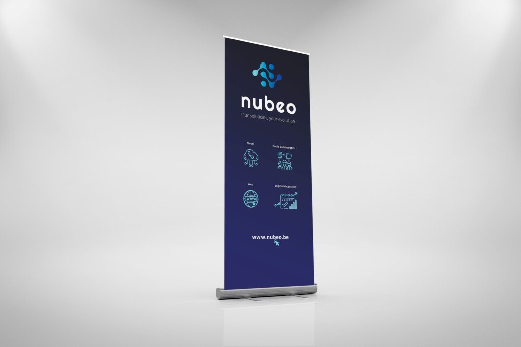 roll up banner and logo design for tech belgian company