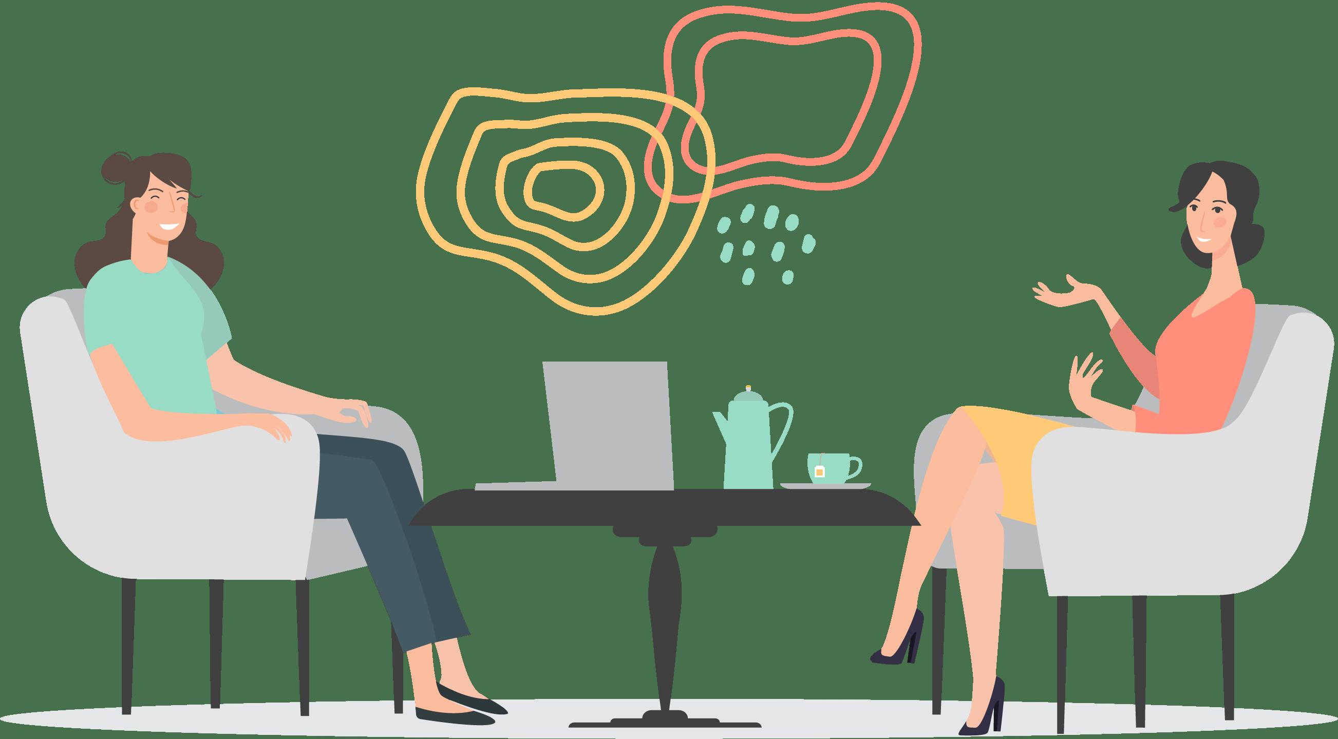 Dessin avec une graphiste qui rencontre une cliente et discutent autour d'une table