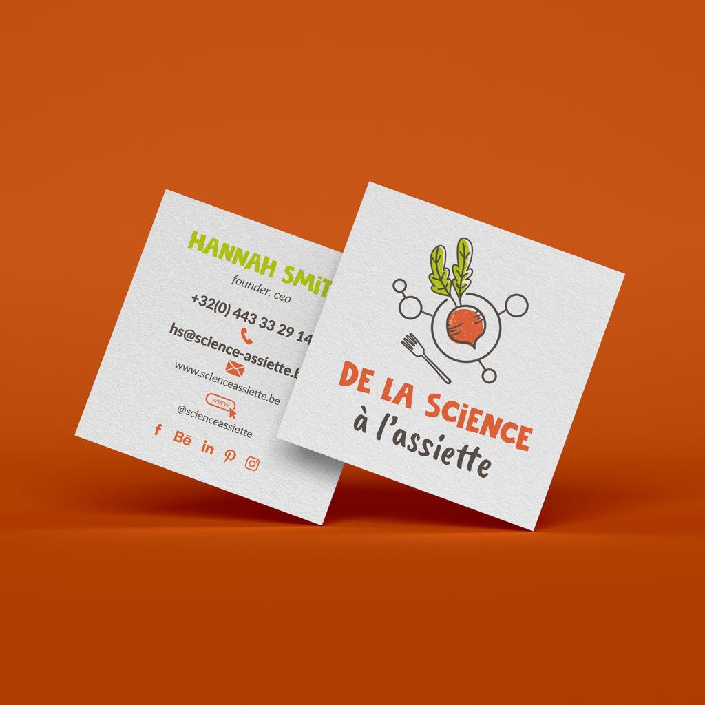 Cartes de visite avec logo science et nutrition