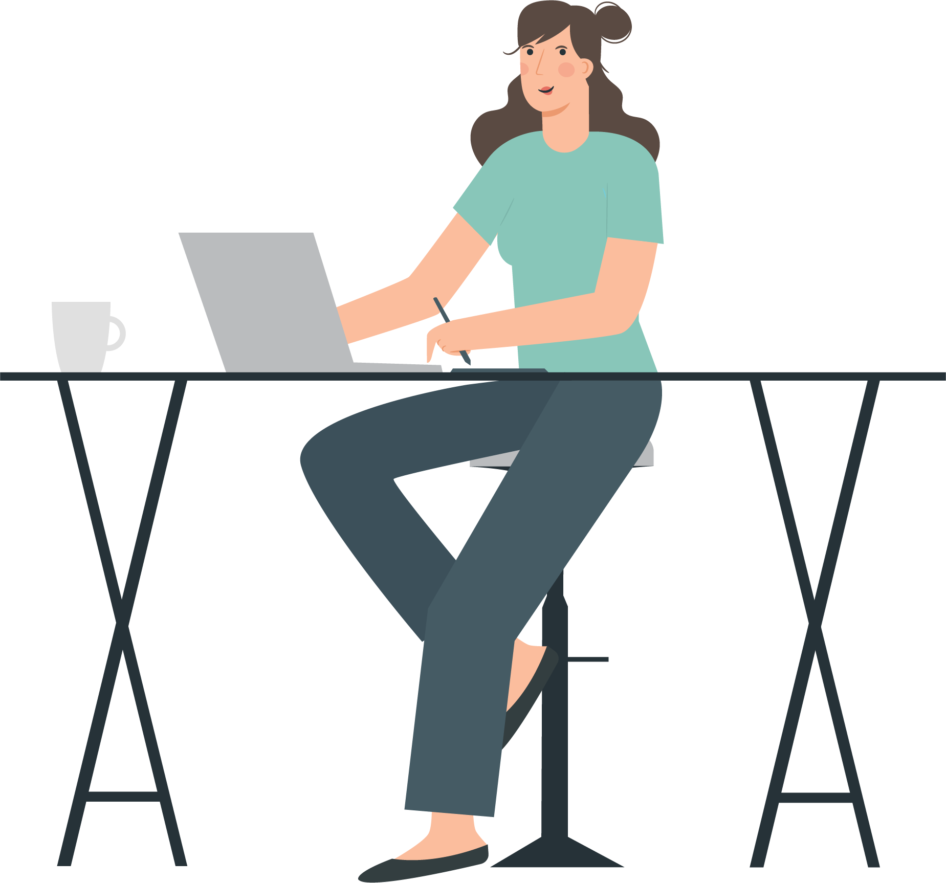 designer girl sitting at her desk with a pencil in her hand